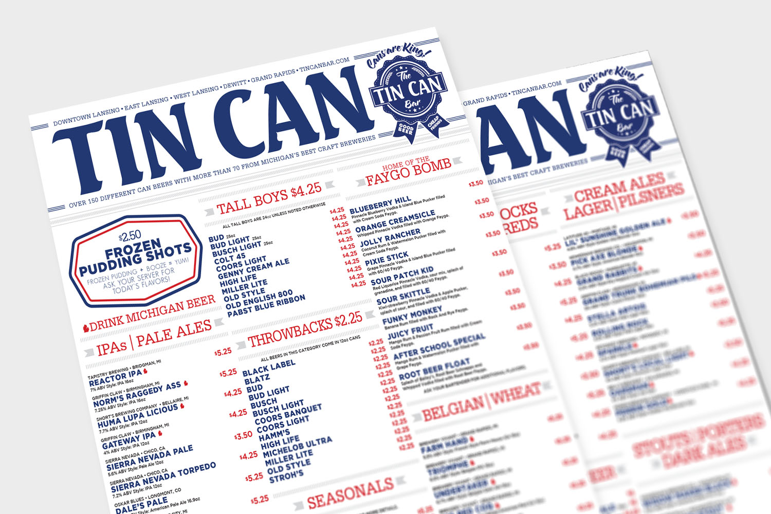 Tin Can Menu Design