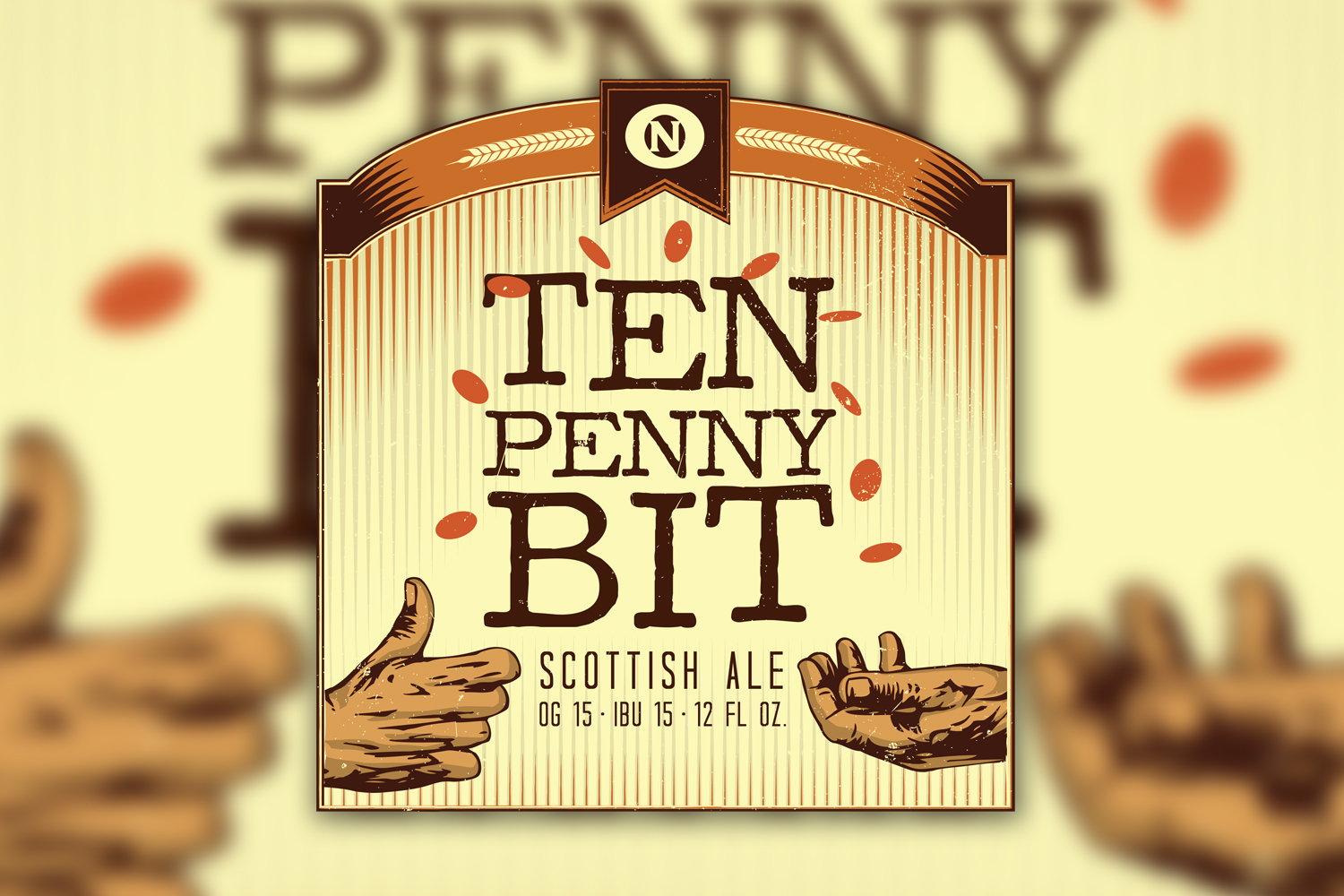 Ten Penny Bit Beer Label