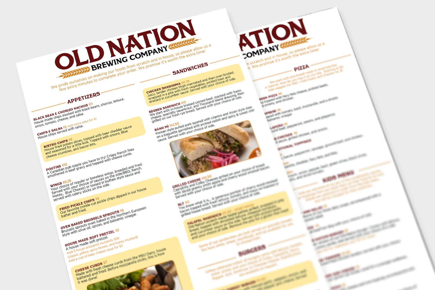 Old Nation Brew Pub Menu