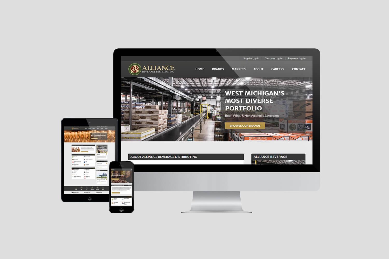 Alliance Beverage Website on iMac, iPad, and iPhone